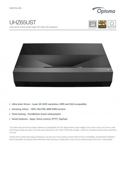 Optoma UHZ 65UST Laser Ultrakurzdistanzprojektor in der GROBI Edition